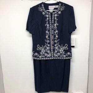 🆕 Karin Stevens Navy Blue Dress Size 14 - A0760